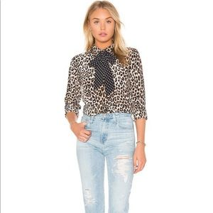 Equipment Femme Kate Moss silk leopard blouse sz M